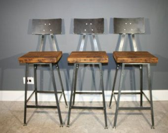 Set Of 3 Reclaimed Urban Wood Industrial Bar Stool W/ Steel Back   FAST  SHIPPING