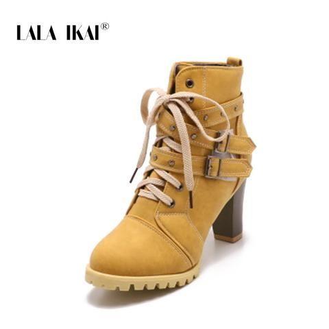 6b782943359 LALA IKAI Women Rivet Lace-Up Winter Boots Hook   Hoop Buckle Nubuck High  Heel Round Toe Platform Chunky Boots 014C2241 -4