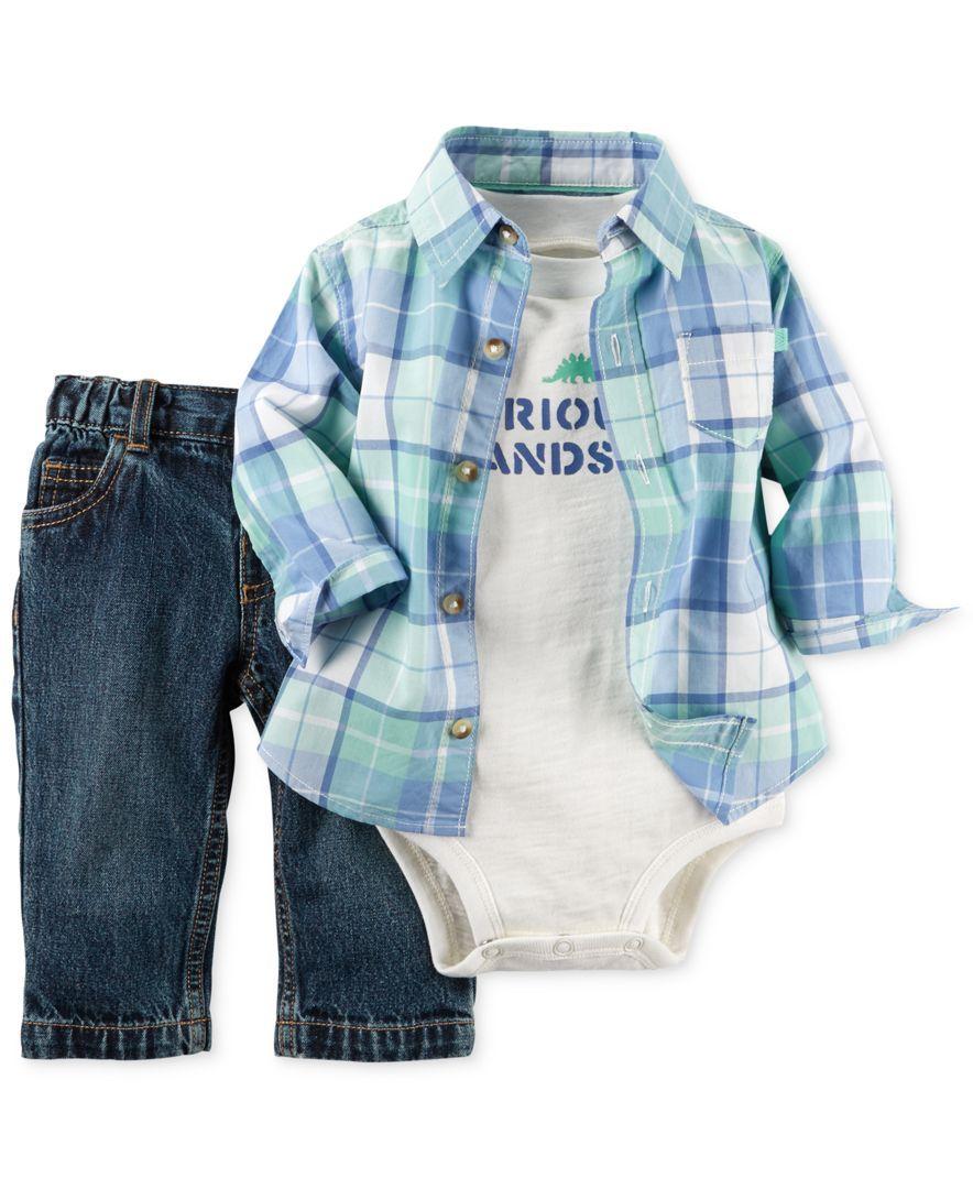 Flannel shirt for baby boy  Carterus Baby Boysu Piece Plaid Shirt Bodysuit u Pants Set  baby