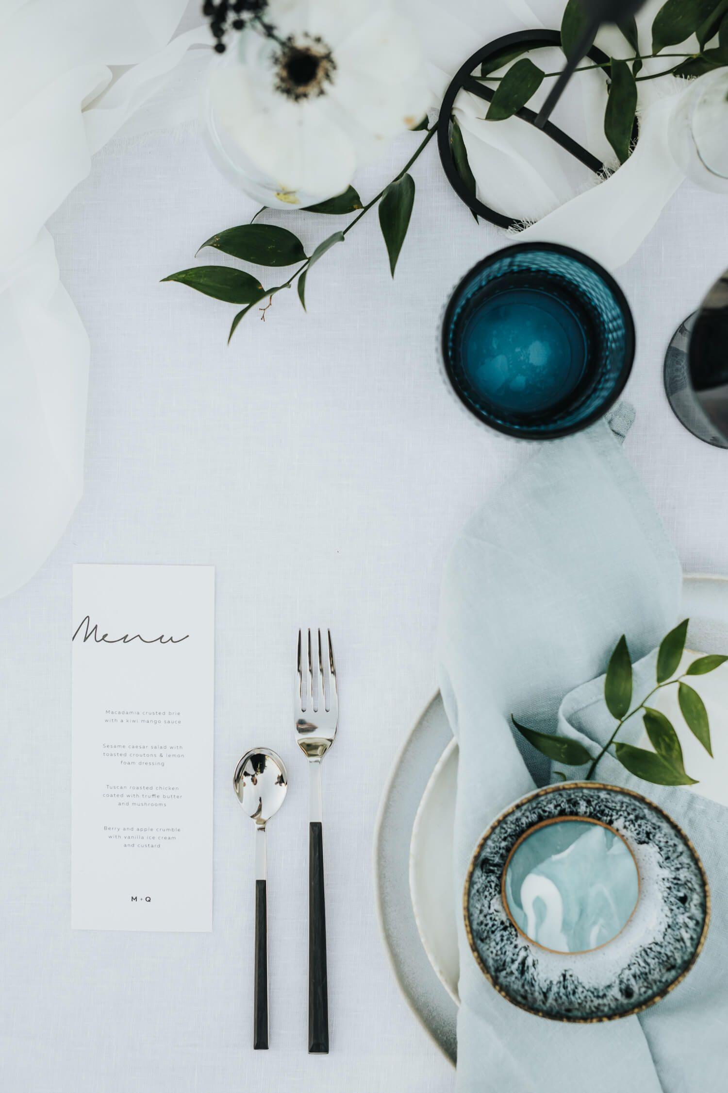 Blue And Minimal Wedding Table Set Modern Sea And