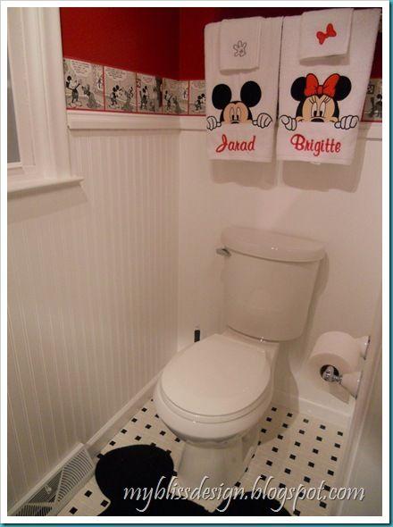 Mickey And Minnie In The Powder Room Mickey Bathroom Mickey