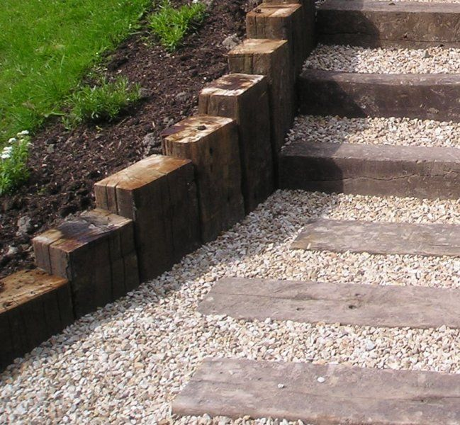Railway sleepers front garden google search private for Garden designs with railway sleepers