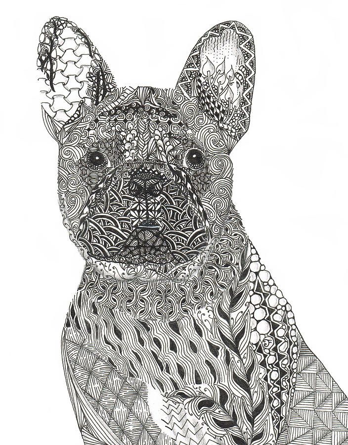 Zentangle Inspired French Bull Dog By Dianne Ferrer Zentangle Artwork Dog Print Art Zentangle Animals