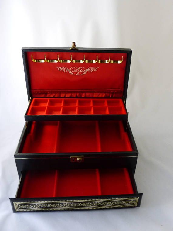 Mele Jewelry Box Black Leather With Gold Trim Red Velvet Jewelry