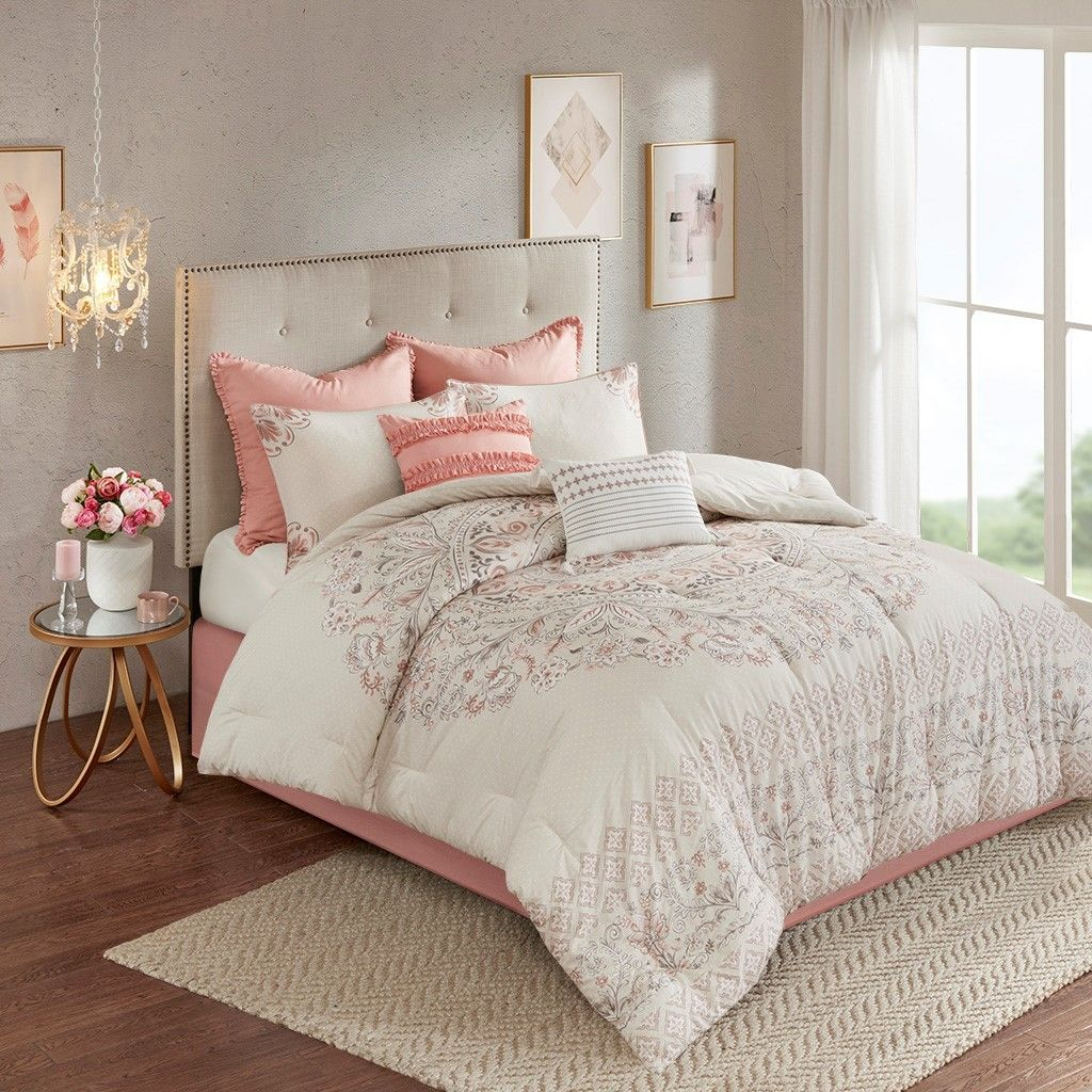 8pc Blush Pink Floral Cotton Reversible Comforter Set And Decorative Pillows Elise Blush Comforter Sets King Comforter Sets Queen Comforter Sets