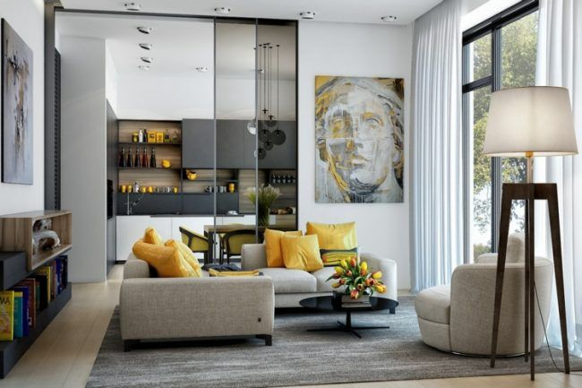 wohnzimmer ideen gelbe akzente wandbild blumenstrauss essstuehle - wandbilder wohnzimmer modern