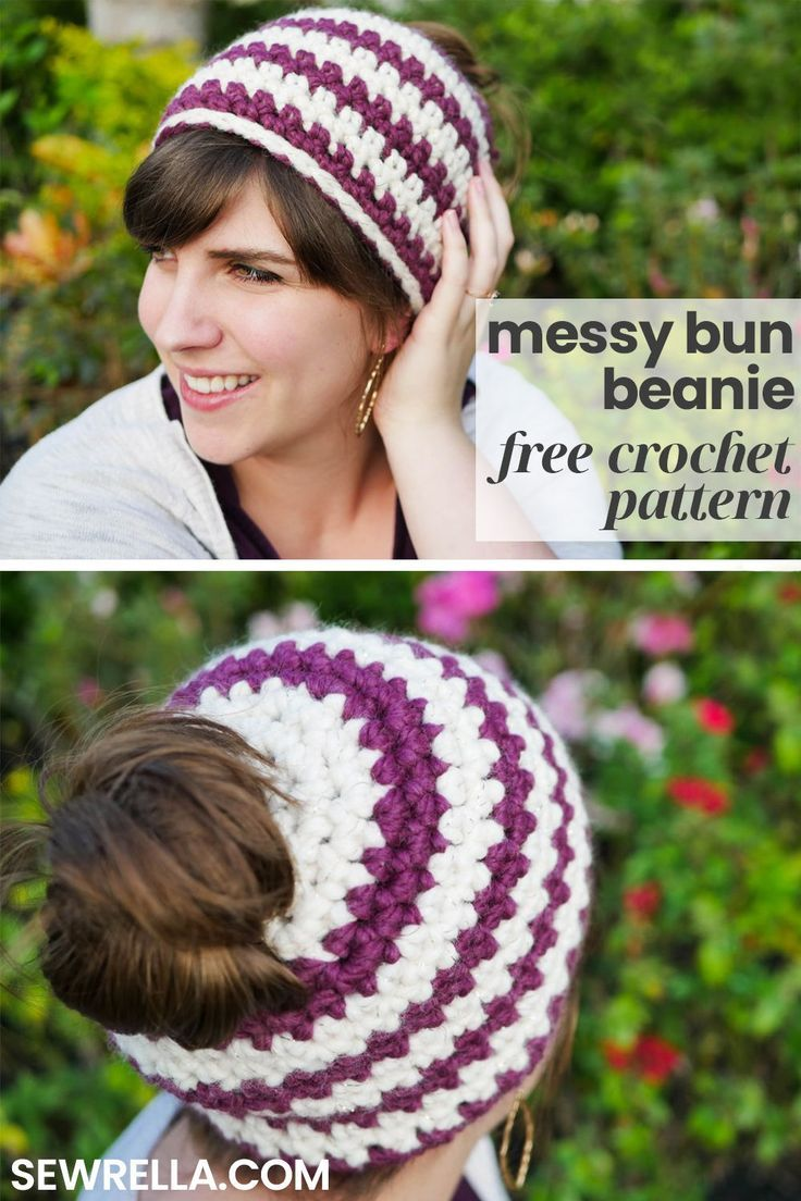 Crochet 1 hour Messy Bun Beanie #messybunhat
