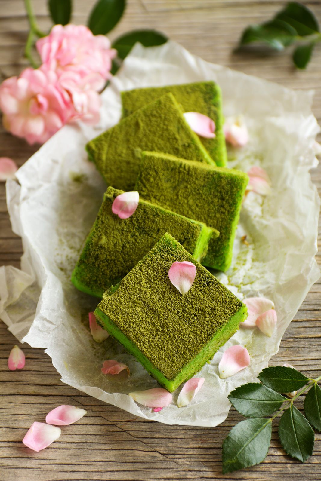 candy white chocolate with matcha