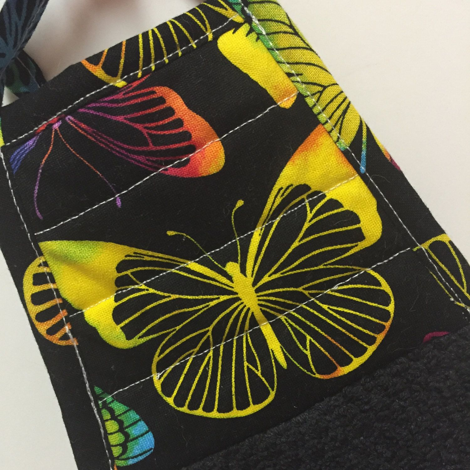 Butterfly Kitchen Towel,Butterfly Decor,Yellow Butterfly Towel,Black Towel, Kitchen Decor