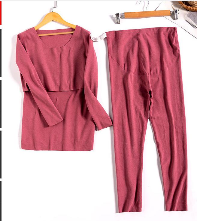 YEN'S BRA™ - Pure Cotton Soft Maternity and Nursing Pyjamas - Red / M