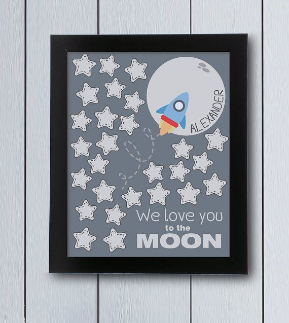 Space Party Sign In Board Printable Pdf Love You To The Moon