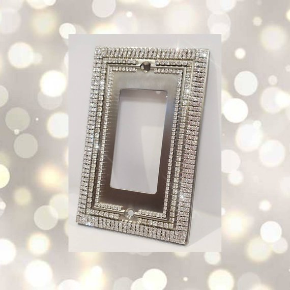 Decorative Clear Crystal Rhinestone Bling Switch Plate Cover Light Switch Cover Wall Plate Switch Plate Covers Light Switch Covers Decorative Switch Plate