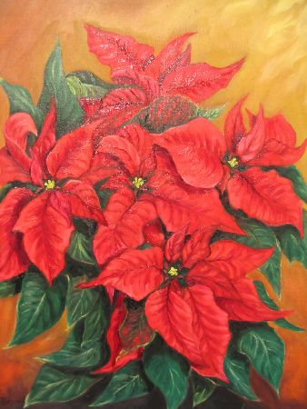 Artwork >> Mazouz Patrice >> poincettia (etoile de noel) oil / linen al particular #artwork, #poincettia, #flowers  #oil, #painting, #masterpiece