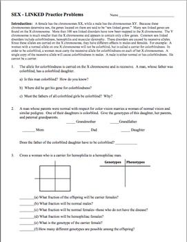 genetics practice problem worksheet sex linked genes sex linkage worksheets and genetics. Black Bedroom Furniture Sets. Home Design Ideas