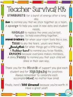 Back to School Freebie: Teacher Survival Kit ideas and letter. Great for grade level teams or beginning teacher gifts.
