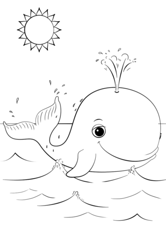 Cute Cartoon Whale coloring page from Cartoon Whale category. Select ...