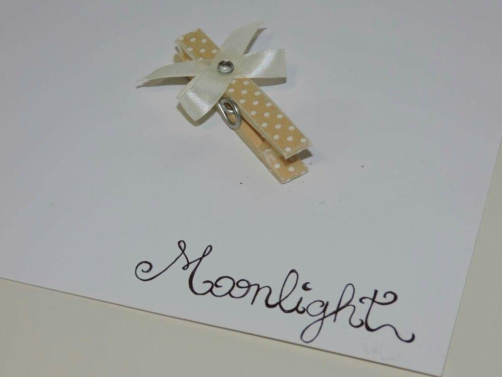 Molletta decorata moonlight comunione matrimonio - Portafoto con molletta ...