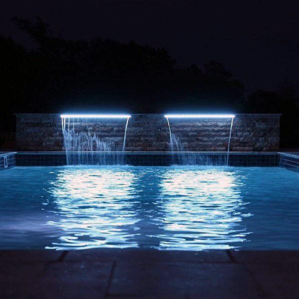 Top 60 Best Pool Lighting Ideas Underwater Led Illumination Pool Waterfall Swimming Pool Lights Swimming Pool Waterfall