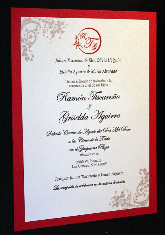 Spanish Wedding Invitations Spanish Wedding Invitations Mexican Wedding Invitations Wedding Invitation Wording