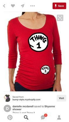 5aed00bd7ec Maternity Halloween Costume T-Shirt Dr. Seuss Cat In The Hat Thing 1 and  Thing 2 Shirt