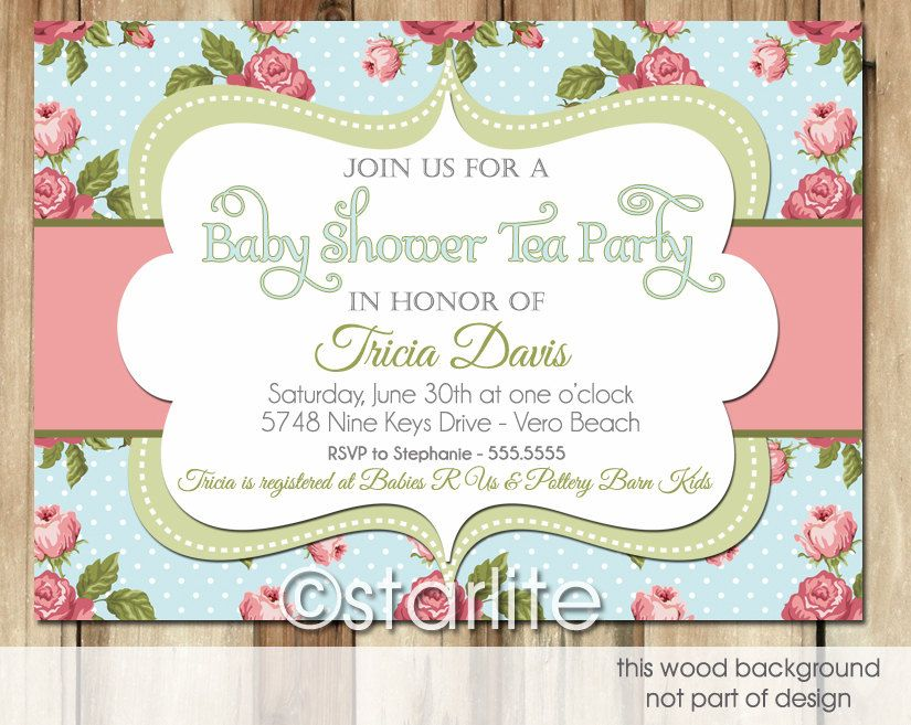 Vintage Tea Blue Baby Shower Invitation Antique Blue Rose - Vintage girl birthday invitation