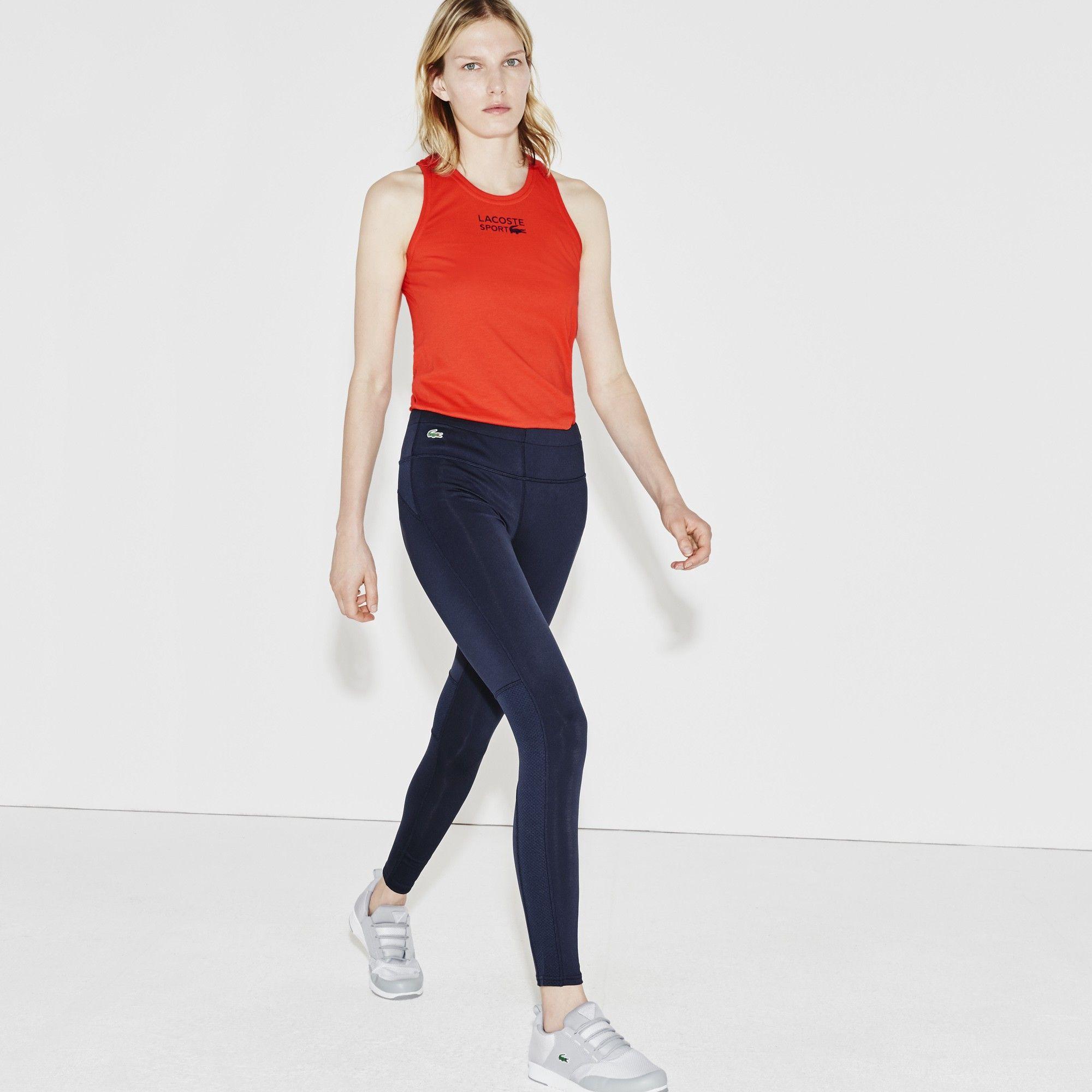 Lacoste Women S Sport Ultra Dry Technical Legging Navy Blue Fluo Energy Lacoste Cloth