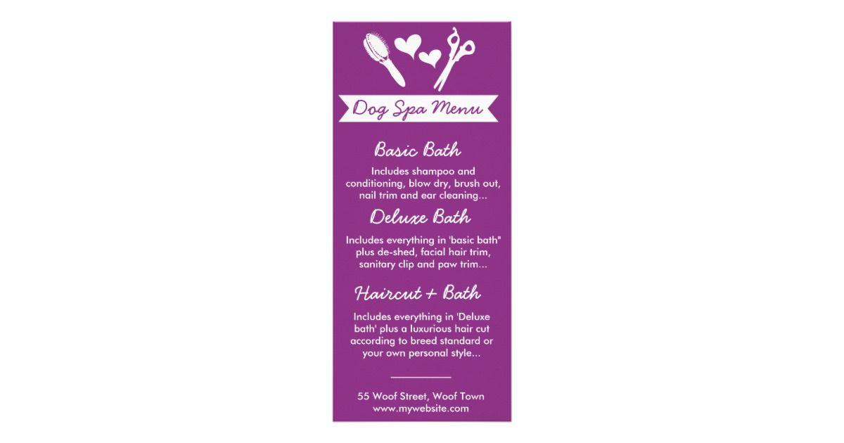 Dog Groomer Rack Card and Menu | Dog spa, Grooming salon and Dog