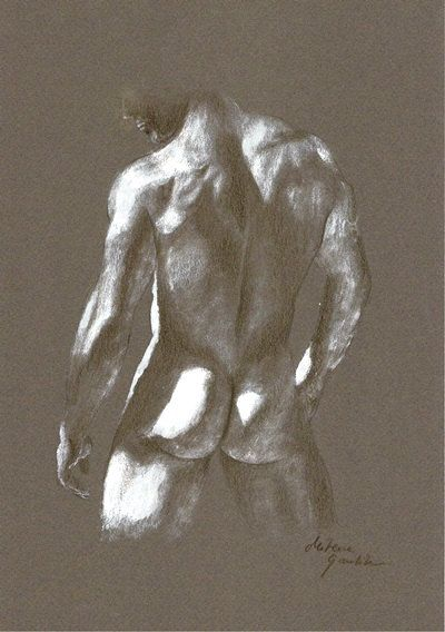 Hand drawing of naked man
