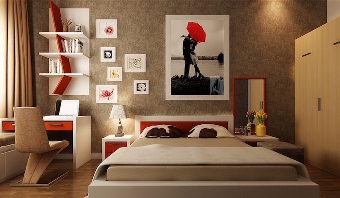 tapisserie chambre couleur taupe et blanc deco rouge beige