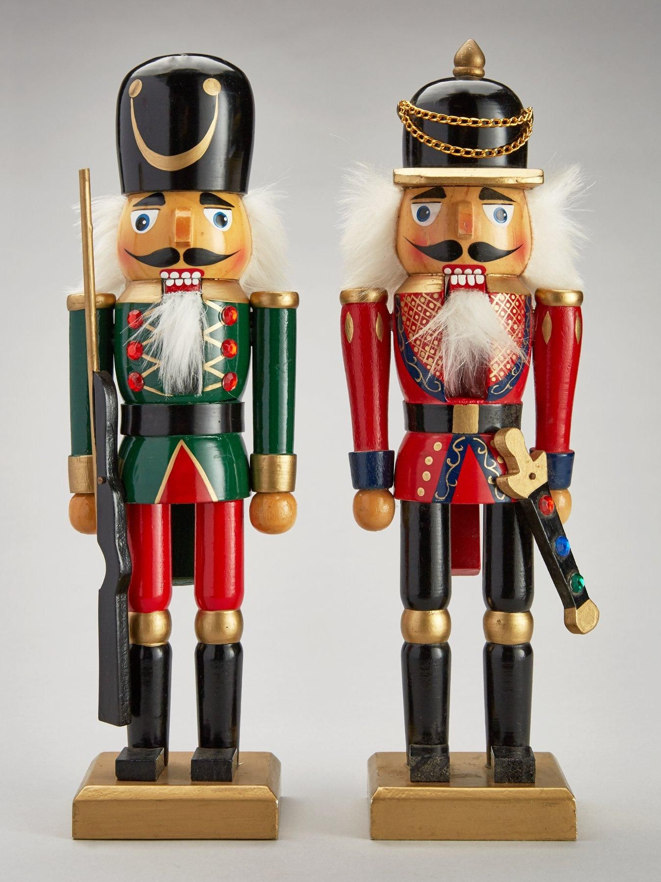 Wooden Nutcracker Soldiers Christmas Decorations (2 Pack) - Verycouk