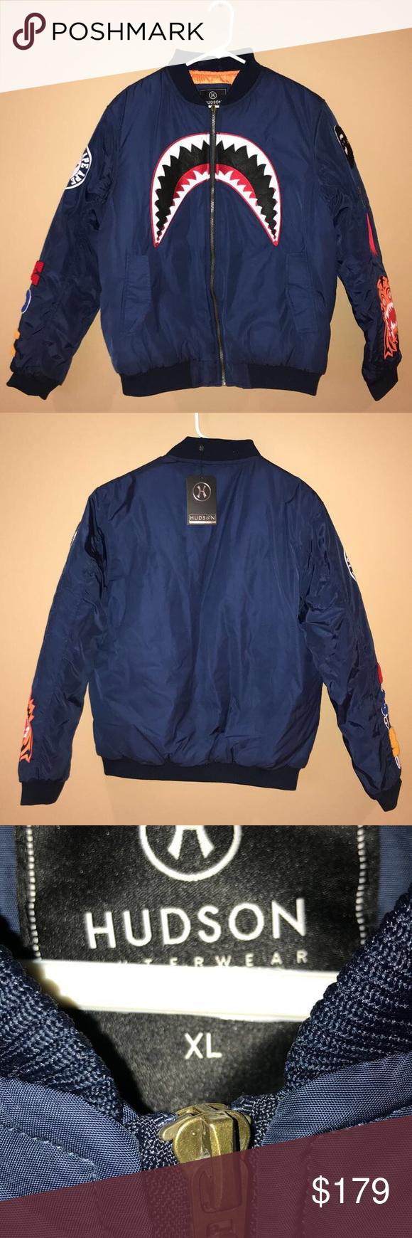 Hudson Outerwear Navy Bomber Xl Bape Supreme Navy Bomber Outerwear Outerwear Jackets [ 1740 x 580 Pixel ]