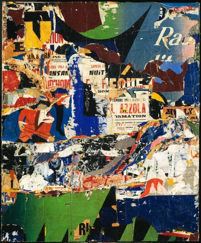 Jacques Mahé de la Villeglé (French, born 1926) Jazzmen 1961 Torn posters mounted on canvas