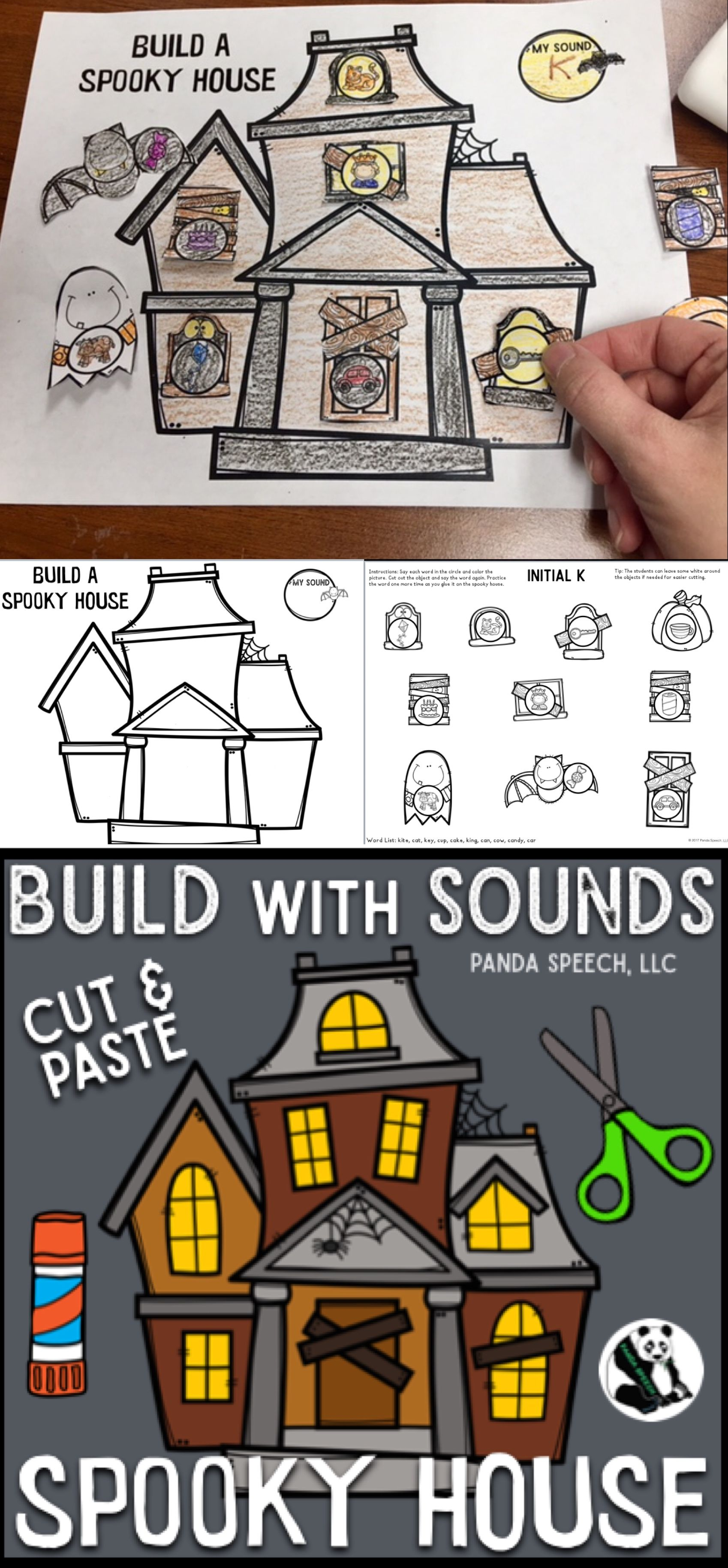 Build With Sounds Spooky House Speech Therapy Craft