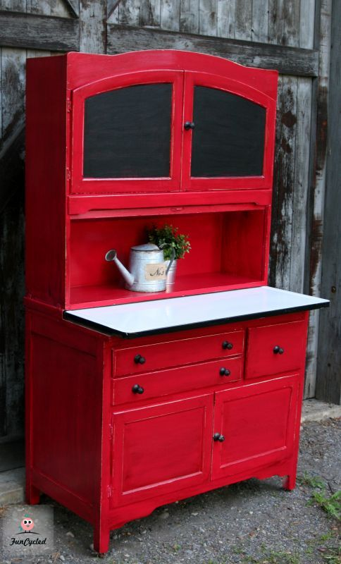 Red Hoosier Cabinet Revamp Kitchen Antique Hoosier