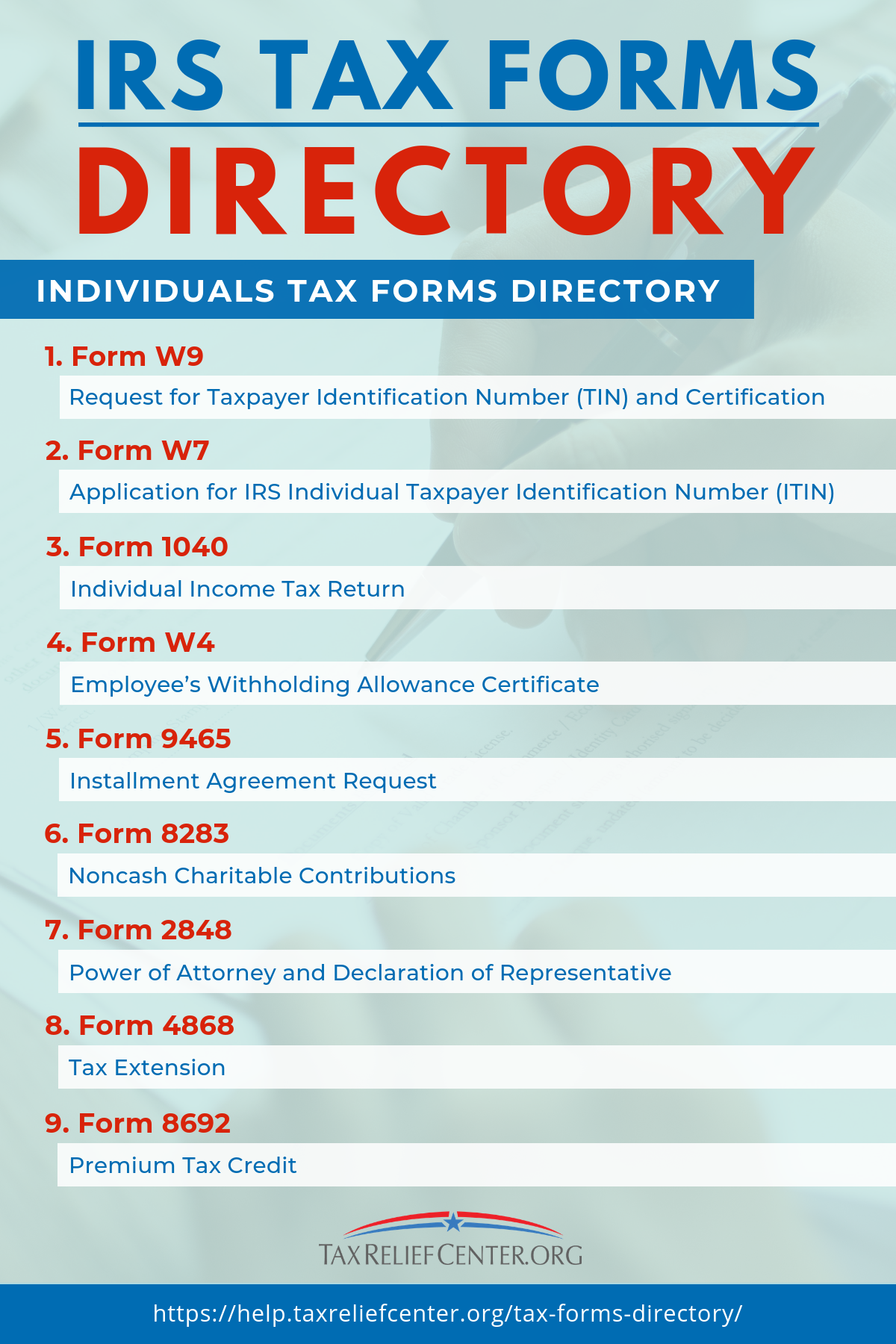 Tax Forms Directory Comprehensive Irs Tax Forms Guide Tax