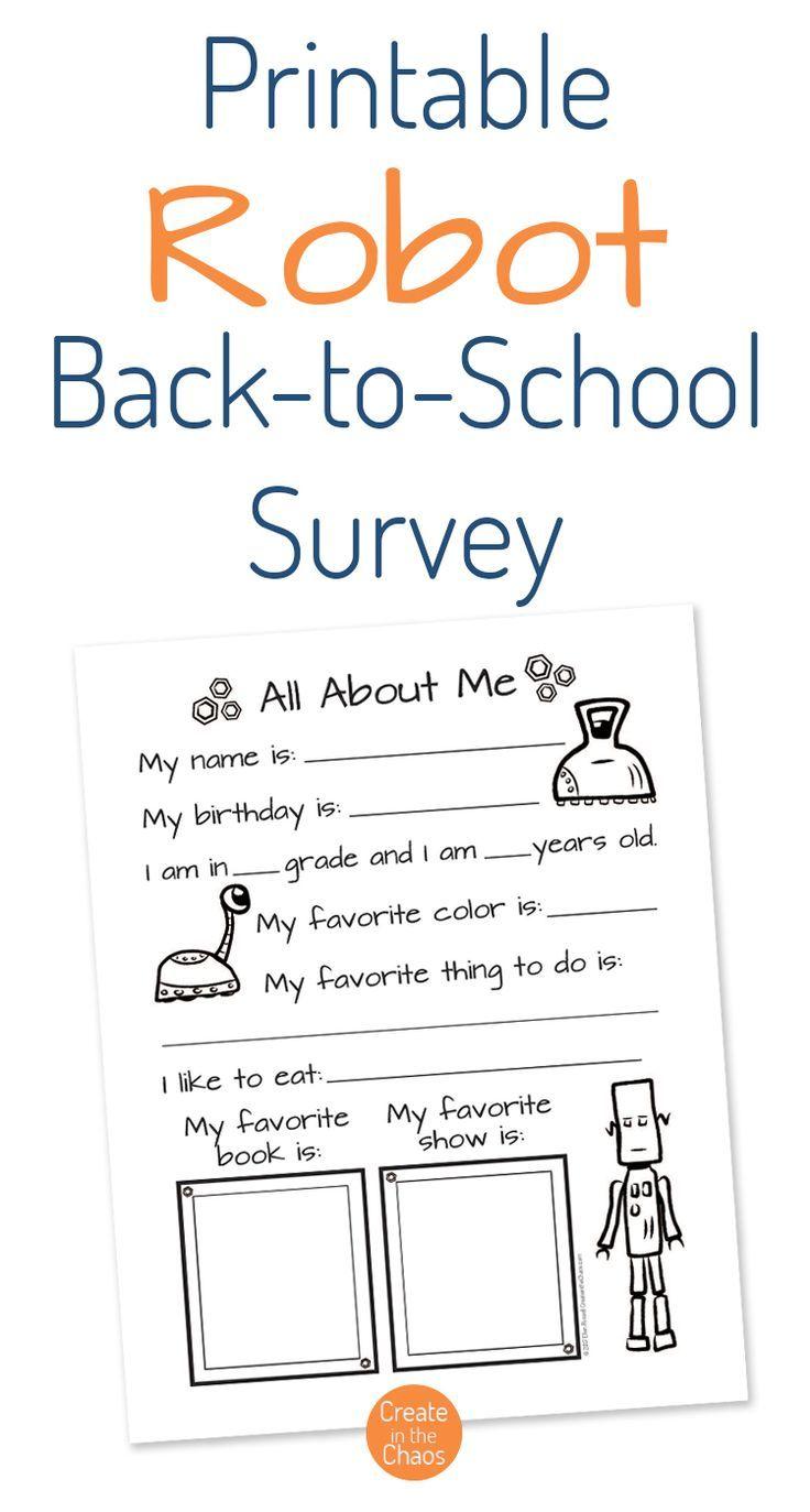 robot themed back to school survey