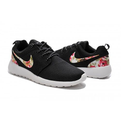 Outlet HerrenDamen Nike Roshe One Print Blumen schwarz