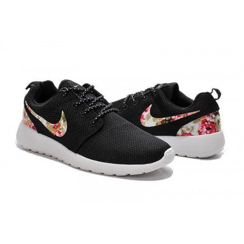 Outlet Herren/Damen Nike Roshe One Print Blumen - schwarz rosa grün Blumen  Laufen Schuhe