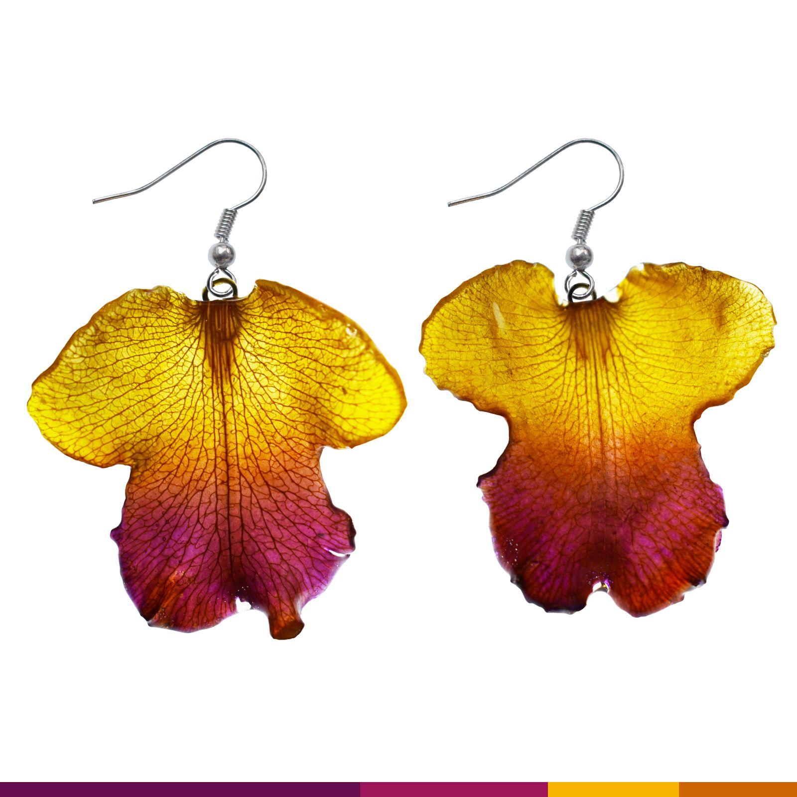 Cattleya Lip Earrings Handmade Real Flower Earrings Yellow Www