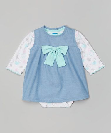 Another great find on #zulily! Light Blue Chambray Bow Dress & White Heart Bodysuit #zulilyfinds
