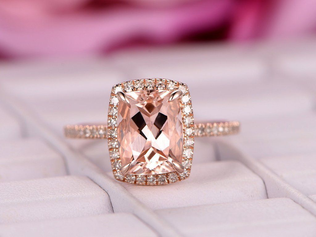 Cushion Morganite Engagement Ring Pave Diamond Wedding 14K Rose Gold ...