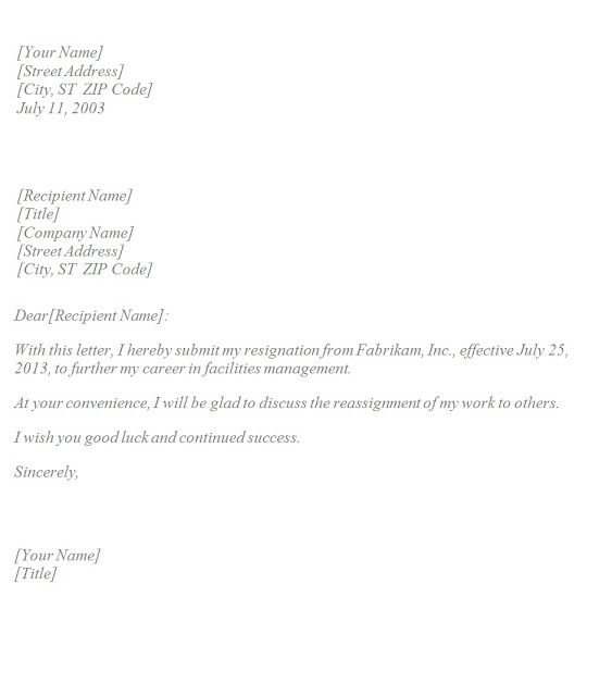 Basic Resignation Letter Template Resignation Letter Quitting