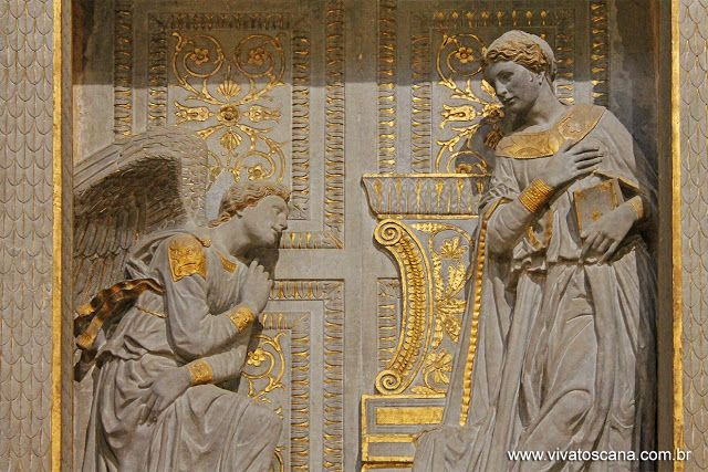 Donatello, c.1386-1466, Italian, Annunciation (detail), c.1435. Gilded pietra serena. Santa Croce, Florence. Early Renaissance.