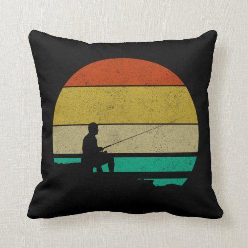 Retro Vintage Fisherman Distressed Fishing Throw Pillow
