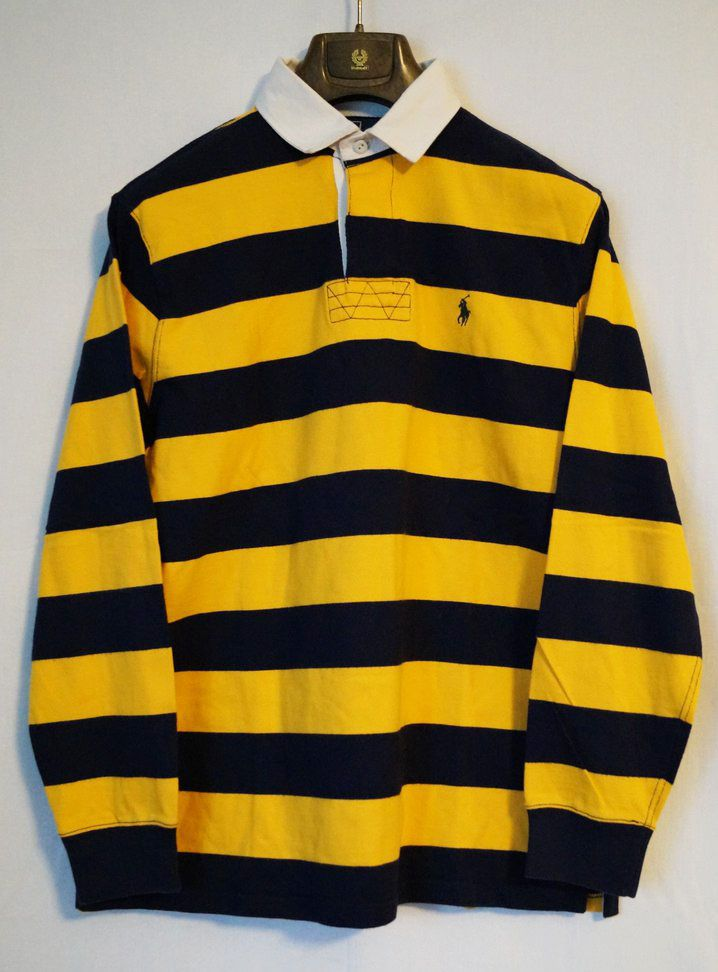 Men S Polo Ralph Lauren Rugby Shirt Blue Yellow Stripe Size M
