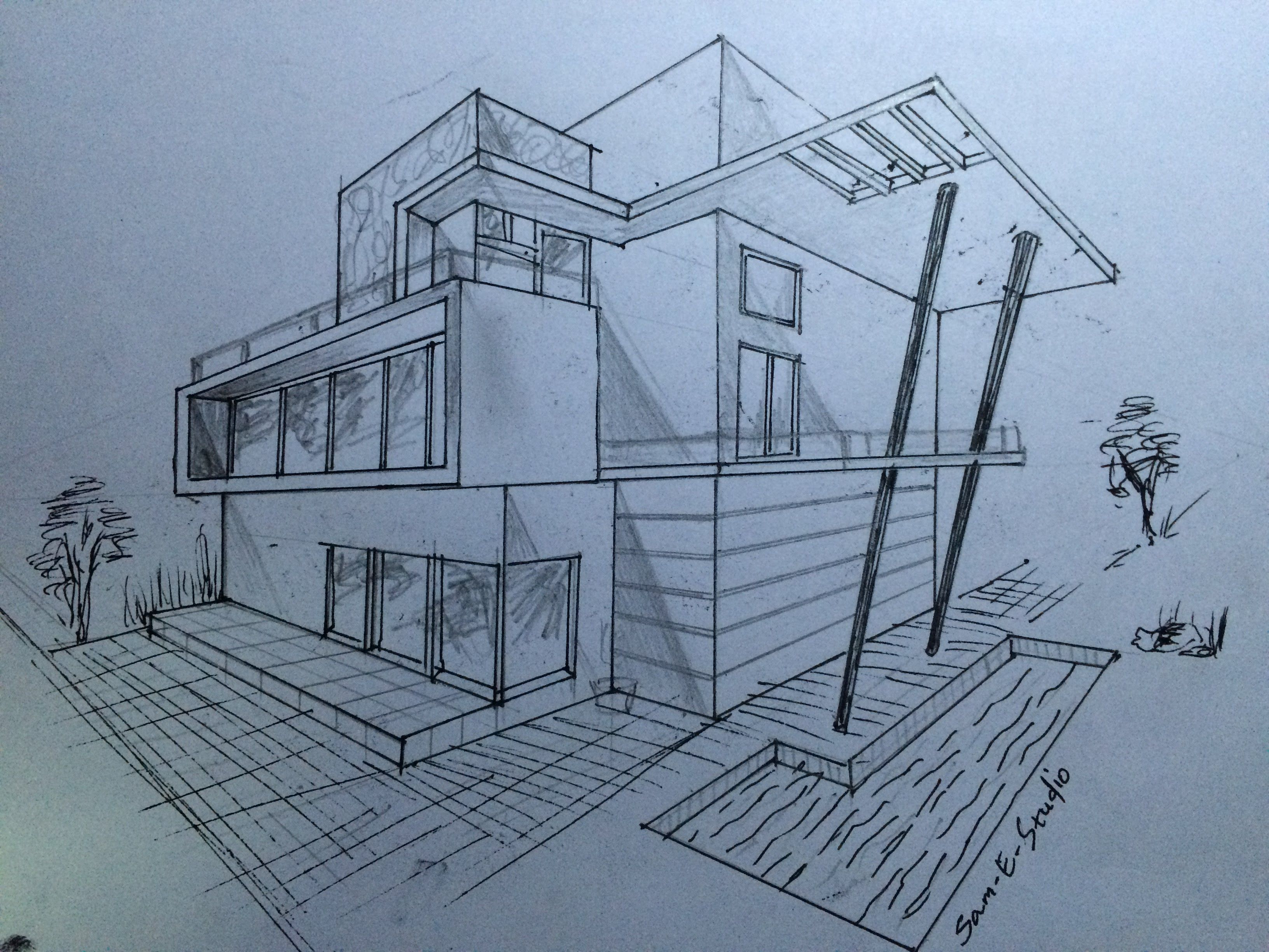 ARCHITECTURE MODERN HOUSE DESIGN (2-POINT PERSPECTIVE VIEW) - YouTube | architectural building ...
