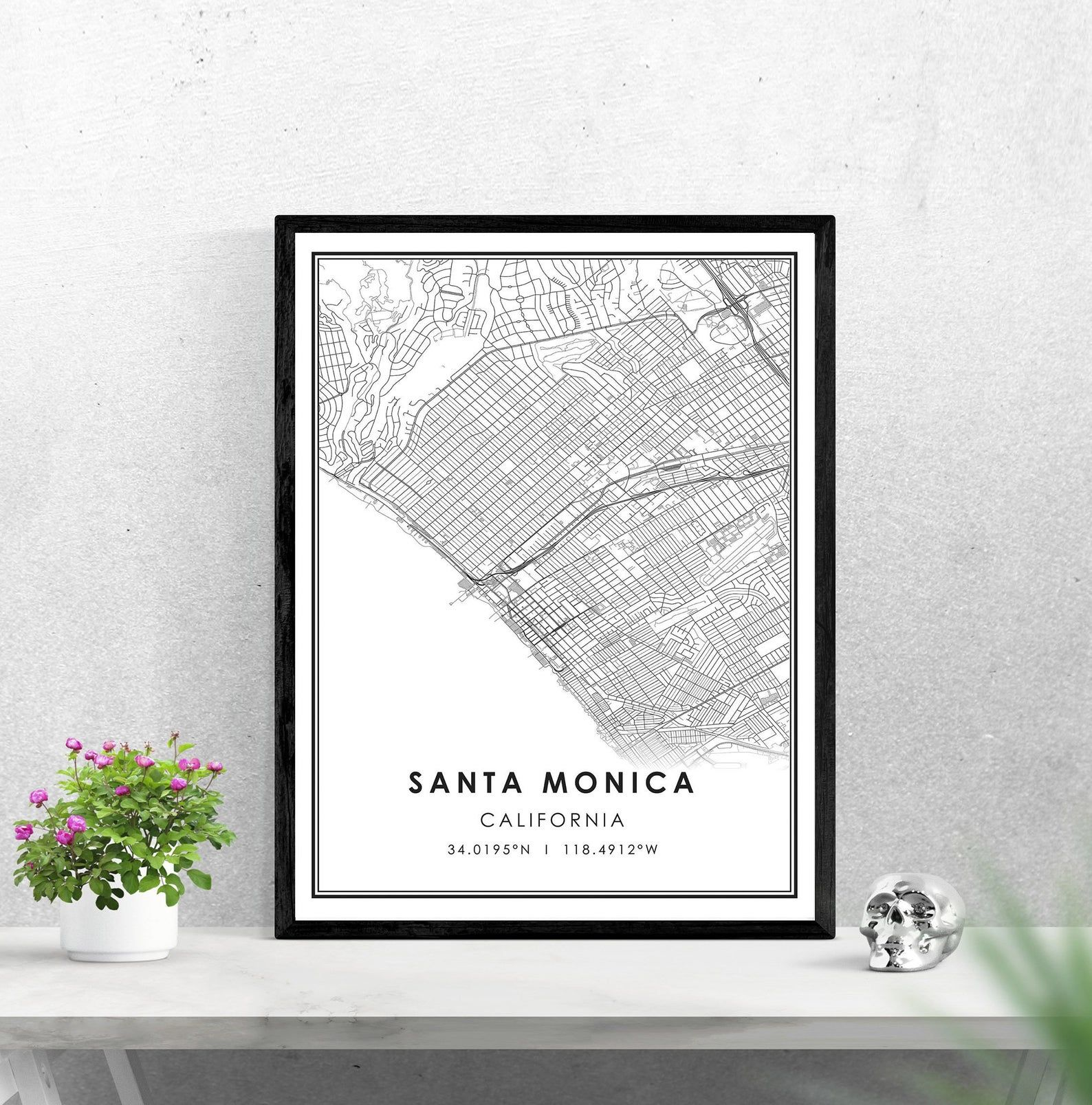 Santa Monica map print poster canvas Santa Monica