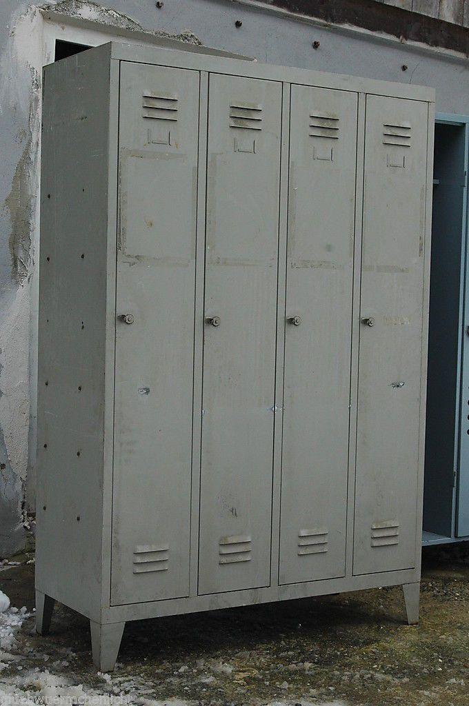 älterer Metallspint Spind 4-Türig Shabby Chic Metallschrank Schrank ...