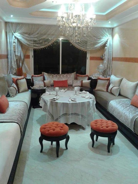 salon marocain orange | salon | Pinterest | Salon marocain, Salons ...