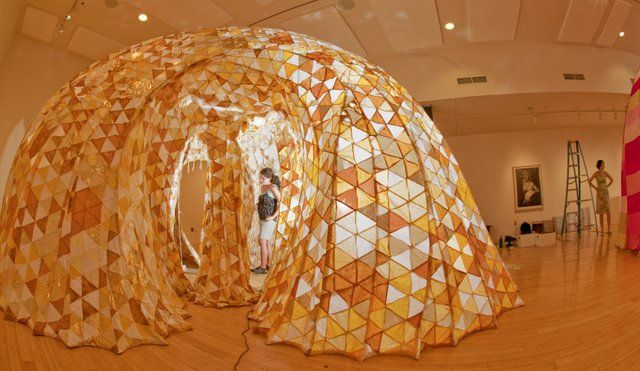 "Photo: Monica Vidal, Houston, installs ""Temple Hive,"" one of two ... / LJWorld.com"